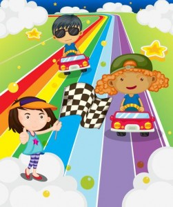 a-car-race-at-the-colorful-road-vector